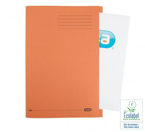Elba Foolscap Square Cut Folder Recycled Mediumweight 285gsm Manilla Orange Ref 100090220 [Pack 100]