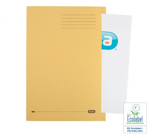 Elba Foolscap Square Cut Folder Recycled Mediumweight 285gsm Manilla Yellow Ref 100090223 [Pack 100]