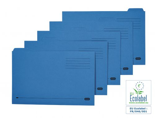 Elba Tabbed Folder Midweight 250gsm Foolscap Blue (Pack of 100) 100090234