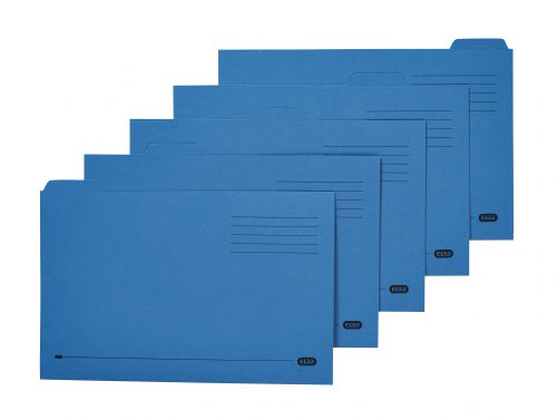 Elba Tabbed Folders Recycled Mediumweight 250gsm Manilla Set of 5 Foolscap Blue Ref 100090234 [Pack 20]