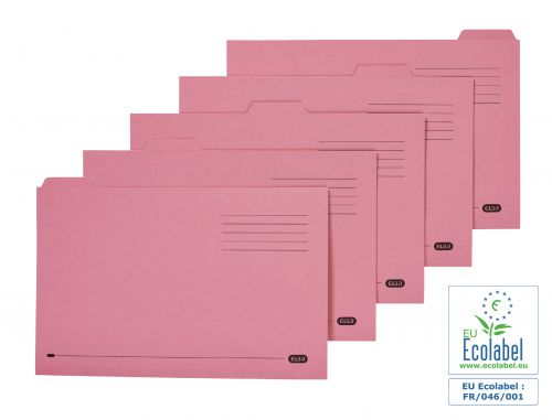 Elba Tabbed Folders Recycled Mediumweight 250gsm Manilla Set of 5 Foolscap Pink Ref 100090236 [Pack 20]