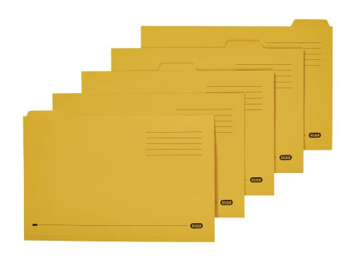 Elba Tabbed Folders Recycled Mediumweight 250gsm Manilla Set of 5 Foolscap Yellow Ref 100090237 [Pack 20]