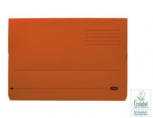 Elba Document Wallet Half Flap 285gsm Capacity 32mm Foolscap Orange Ref 100090241 [Pack 50]