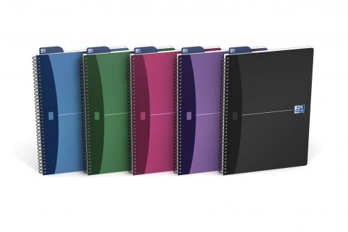 Oxford Office Notebook Poly Wirebound 90gsm Smart Ruled 180pp A4 Assorted Colour Ref 100101918 [Pack 5]