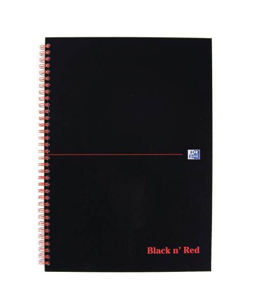 Black n Red Notebook Wirebound 90gsm Ruled and Perforated 140pp A4 Glossy Black Ref 100102248 [Pack 5]
