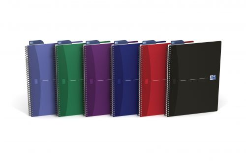 Oxford Office Nbk Wirebound Soft Cover 90gsm Smart Ruled 180pp A4 Assorted Colour Ref 100105331 [Pack 5]