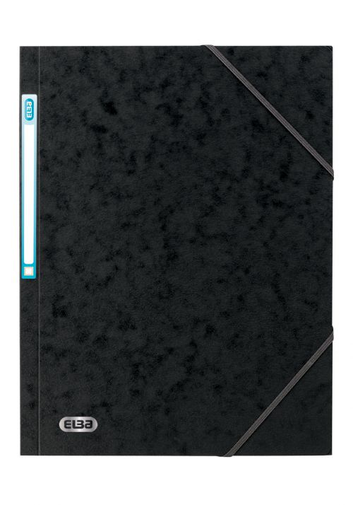 Elba Eurofolio Folder Elasticated 3-Flap 450gsm A4 Black Ref 100200987 [Pack 10]