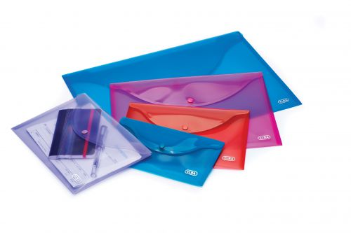 Elba Snap Wallet Polypropylene Integrated Stud Fastening A4 Translucent Assorted Ref 100201306 [Pack 5]