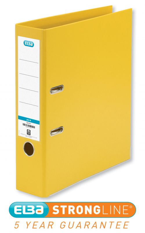 Elba Lever Arch File PP 70mm Spine A4 Yellow Ref 100202166 [Pack 10]