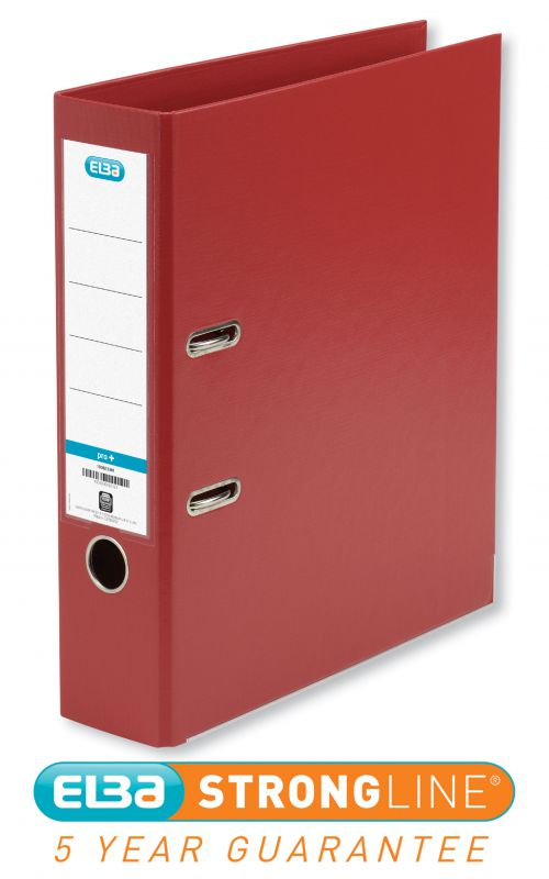Elba Lever Arch File Polypropylene 70mm Spine A4 Red Ref 100202172 [Pack 10]