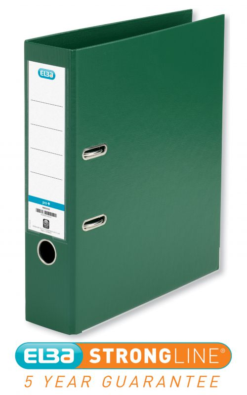 Elba Lever Arch File Polypropylene 70mm Spine A4 Green Ref 100202174 [Pack 10]