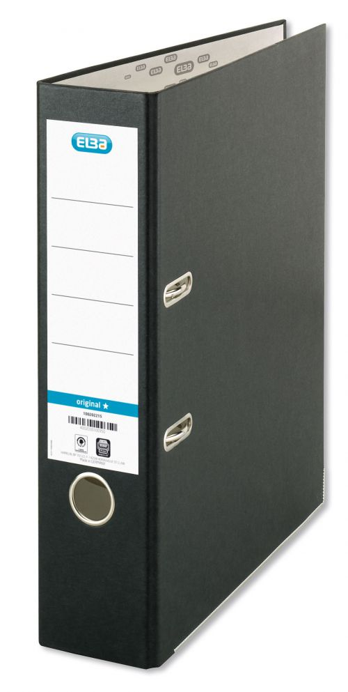Elba Board Lever Arch File A4 Black (Pack 10)