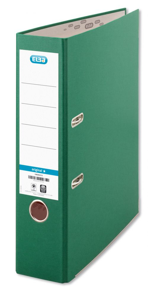 Elba Lever Arch File A4 Coloured Paper Over Board 80mm Spine Green Ref B1045714 [Pack 10]