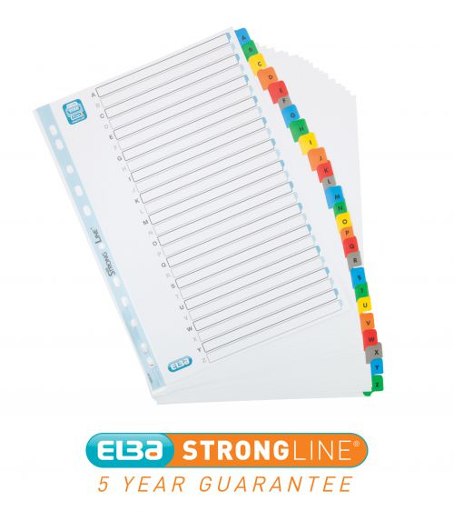 Elba Index A-Z 26-Part Multipunched Mylar-reinforced Multicolour-Tabs 170gsm A4 White Ref 100204600