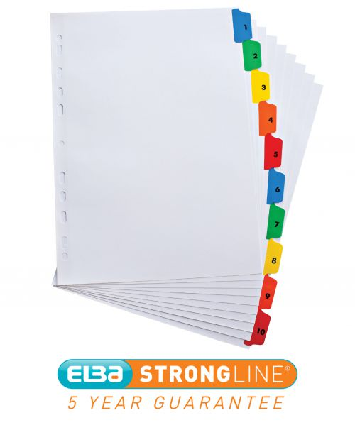 Elba Index 1-10 Multipunched Mylar-reinforced Multicolour-Tabs 70gsm Extra Wide A4+ White Ref 100204626