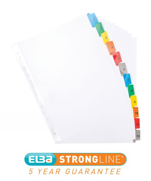 Elba index 1-12 Multipunched Mylar-reinforced Multicolour-Tabs 170gsm Extra Wide A4+ White Ref 100204627