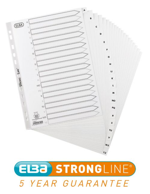 Oxford Index A-Z 20-Part Polypropylene Multipunched Reinforced 120 Micron A4 White Ref 100204726
