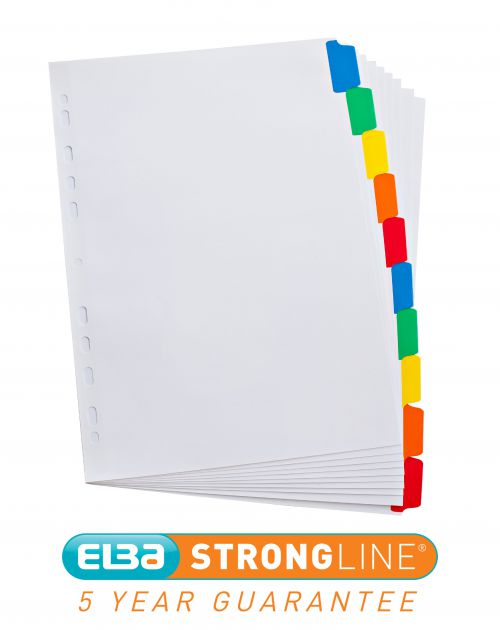 Elba Subject Divider 10-Part Multipunched Mylar-reinforced Multicolour-Tabs 170gsm A4 White Ref 100204941