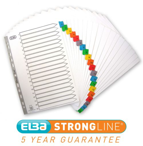 Elba Index 1-20 Multipunched Mylar-reinforced Multicolour-Tabs 170gsm A4 White Ref 100209108