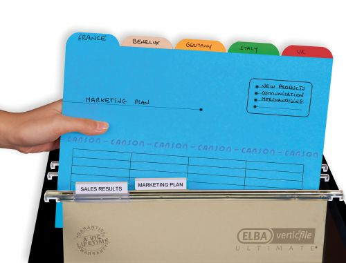 Elba Ultimate Tabbed Folder 240gsm Mediumweight Reinforced Manilla A4 Assorted [Pack 25] Ref 100330160