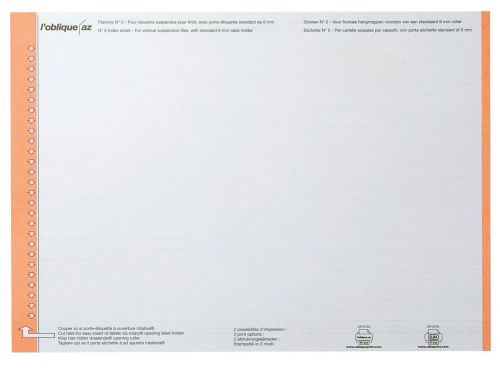 Elba AZO Ultimate Replacement Card Inserts for Suspension File Tabs White Ref 100330197 [Labels 270]