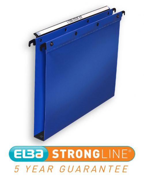 Elba Ultimate Linking Suspension File Polypropylene 30mm Wide-base Foolscap Blue Ref 100330371 [Pack 25]