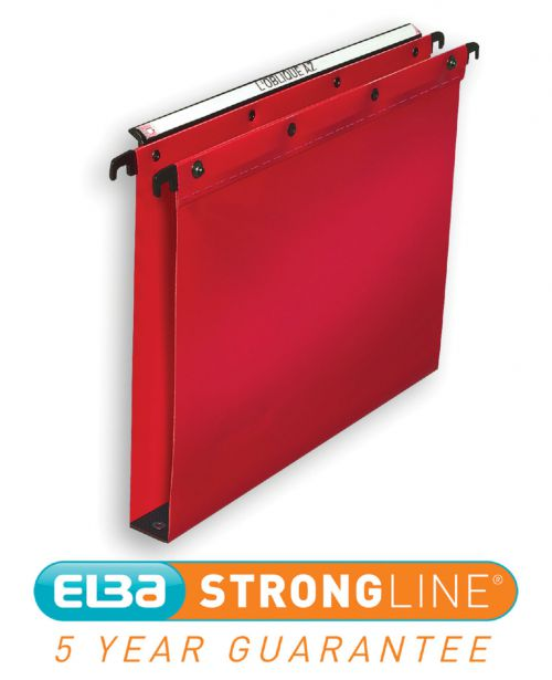 Elba Ultimate Linking Suspension File Polypropylene 30mm Wide-base Foolscap Red Ref 100330374 [Pack 25]