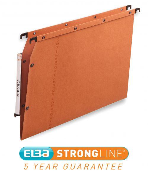 Elba Ultimate AZV Linking Lateral File Manilla 15mm V-base 240gsm A4 Orange Ref 100330473 [Pack 25]