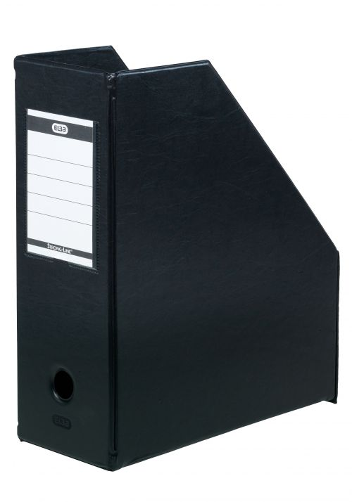 Magazine Rack File Plastic Jumbo 110mm A4 Black [Pack 5]