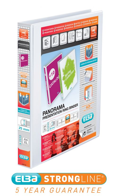 Elba Panorama 25mm 4 D-Ring Presentation Binder A4 White (Pack of 10) 400001391