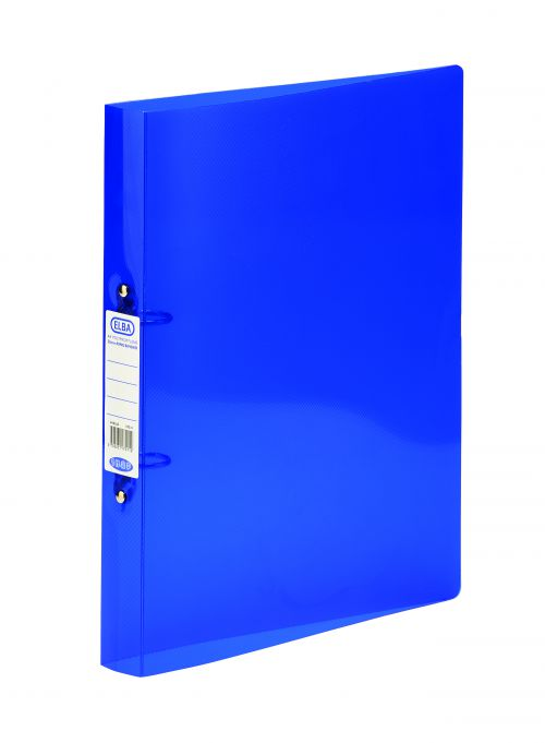Elba Snap Ring Binder Polypropylene 2 O-Ring 25mm A4+ Blue Ref 400002002 [Pack 10]