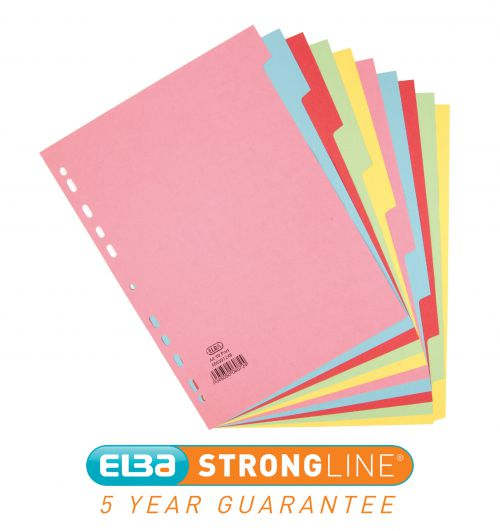 Elba Card Dividers 10 Part A4 Multicolour 400007246
