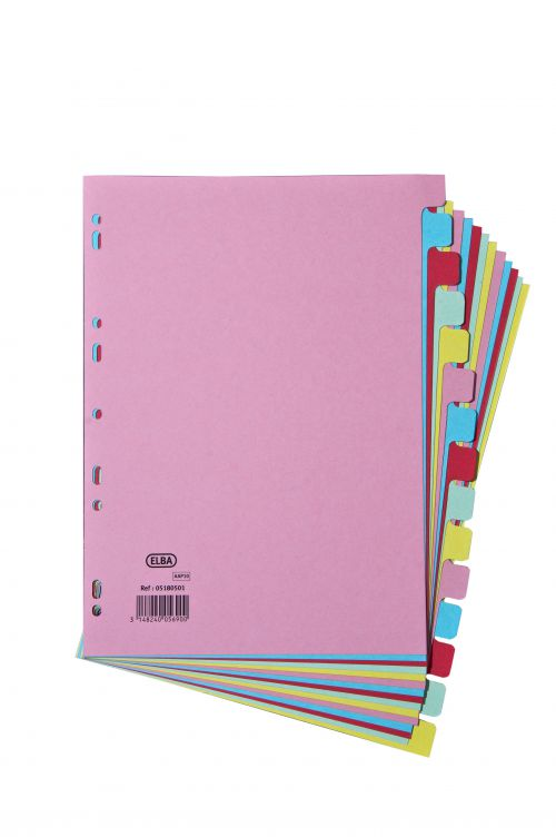 Elba Subject Dividers 15-Part Card Multipunched Recyclable 160gsm A4 Assorted Ref 400007437
