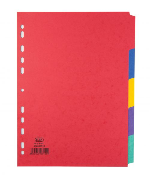Elba Heavyweight Subject Dividers 5-Part Card Multipunched 220gsm A4 Assorted Ref 400007512