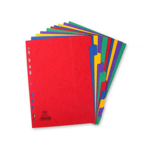 Elba Heavyweight Subject Dividers 10-Part Card Multipunched 220gsm A4 Assorted Ref 400007513