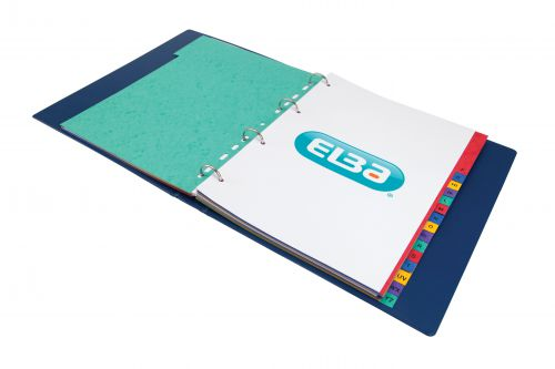 Elba Heavyweight Index A-Z 20-Part Heavyweight Card Multipunched 220gsm A4 Assorted Ref 400007514