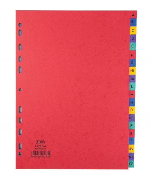 Elba A-Z Pressboard Index Heavyweight A4 Bright Multi 400007514