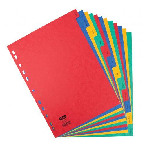 Elba Heavyweight Index Jan-Dec Heavyweight Card Multipunched 220gsm A4 Assorted Ref 400007517