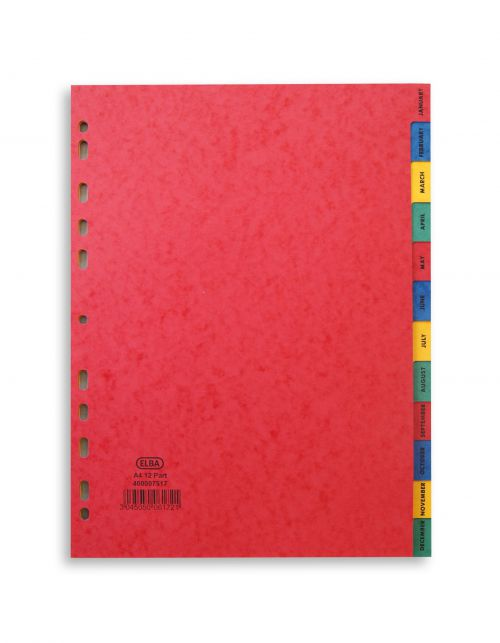 Elba Heavyweight Index Jan-Dec Heavyweight Card Multipunched 220gsm A4 Assorted Ref 400007517