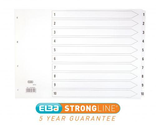 Elba Index 1-10 Multipunched Mylar-reinforced Tabs 170gsm A3 Landscape White Ref 400008095