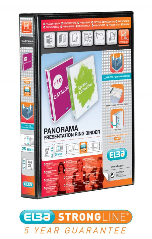 Elba Panorama Presentation Ring Binder PP 2 D-Ring 25mm Capacity A4 Black Ref 400008411 [Pack 6]