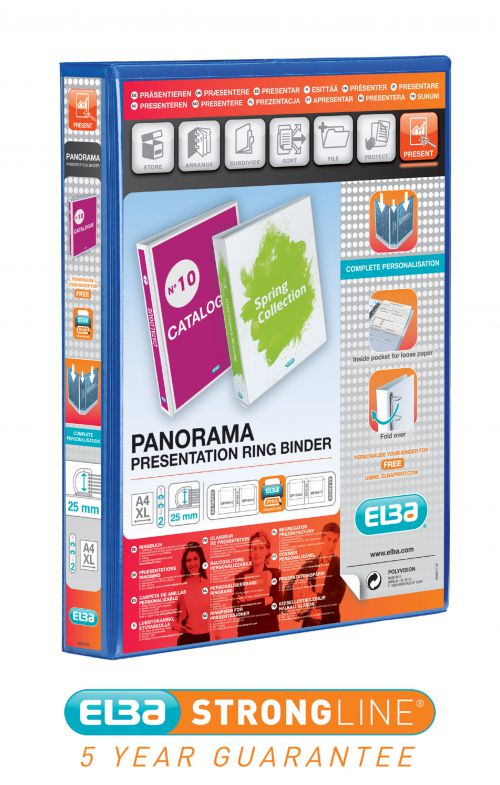 Elba Panorama Presentation Ring Binder PP 2 D-Ring 25mm Capacity A4 Blue Ref 400008412 [Pack 6]
