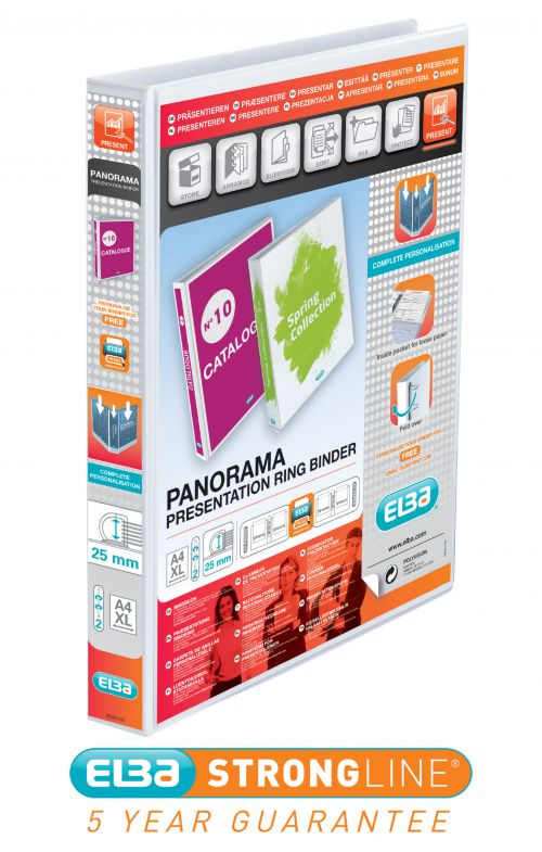 Elba Panorama Presentation Ring Binder PP 2 D-Ring 25mm Capacity A4 White Ref 400008413 [Pack 6]