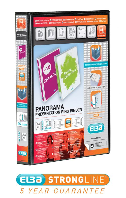 Elba Pres Ring Binder 25mm A4 4R BK PK6