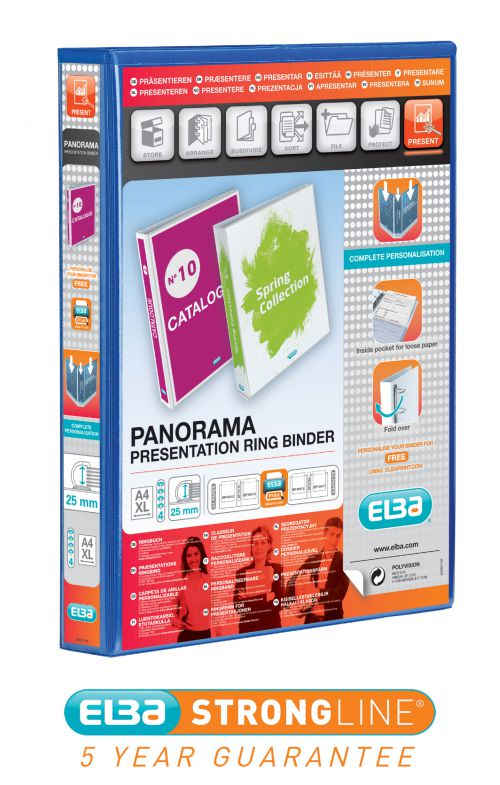 Elba Pres Ring Binder 25mm A4 4R BL PK6