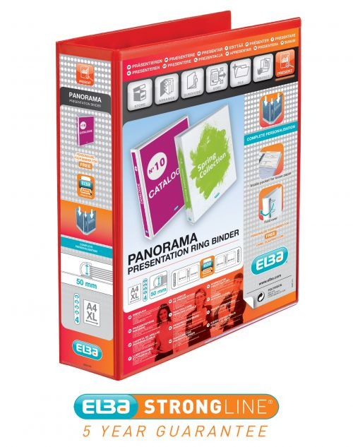 Elba Panorama Presentation Ring Binder PP 4 D-Ring 50mm Capacity A4 Red Ref 400008432 [Pack 4]