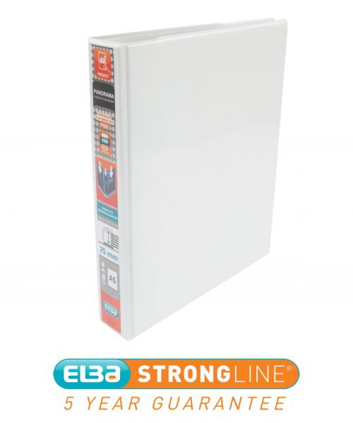 Elba Panorama Presentation Ring Binder PP 2 D-Ring 25mm Capacity A5 White Ref 400008434 [Pack 6]