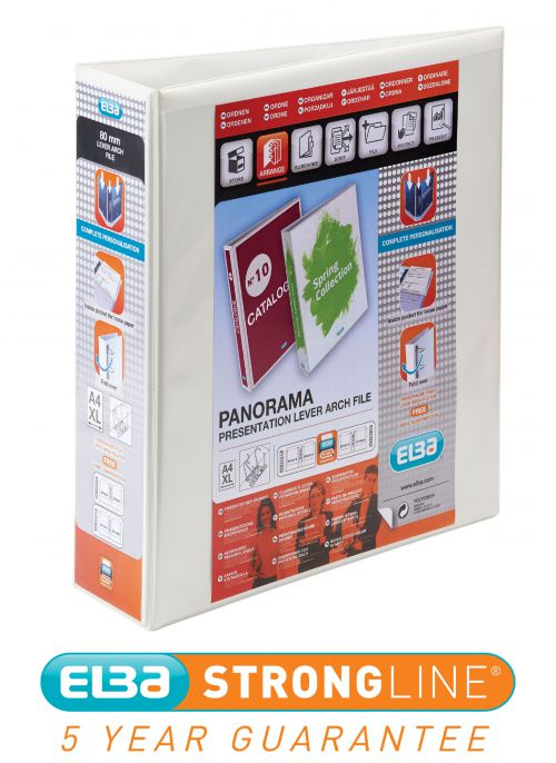 Elba Panorama Presentation Ring Binder 2 Ring A4 70mm White 400008436