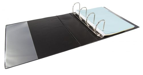 Elba Panorama Presentation Ring Binder PP 4 D-Ring 65mm Capacity A4 Black Ref 400008442 [Pack 4]