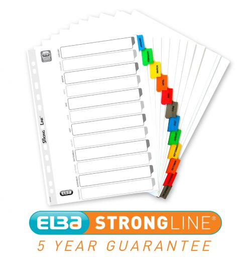 Elba Index Jan-Dec Multipunched Mylar-reinforced Coloured Tabs 170gsm A4 White Ref 40008983